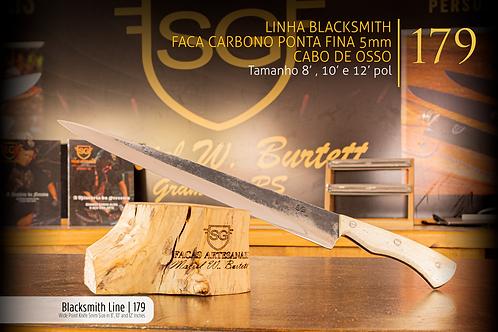 Linha Blacksmith - Faca Carbono Ponta Fina 5mm - Cabo de Osso