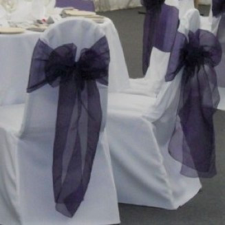 Dark purple organza sash