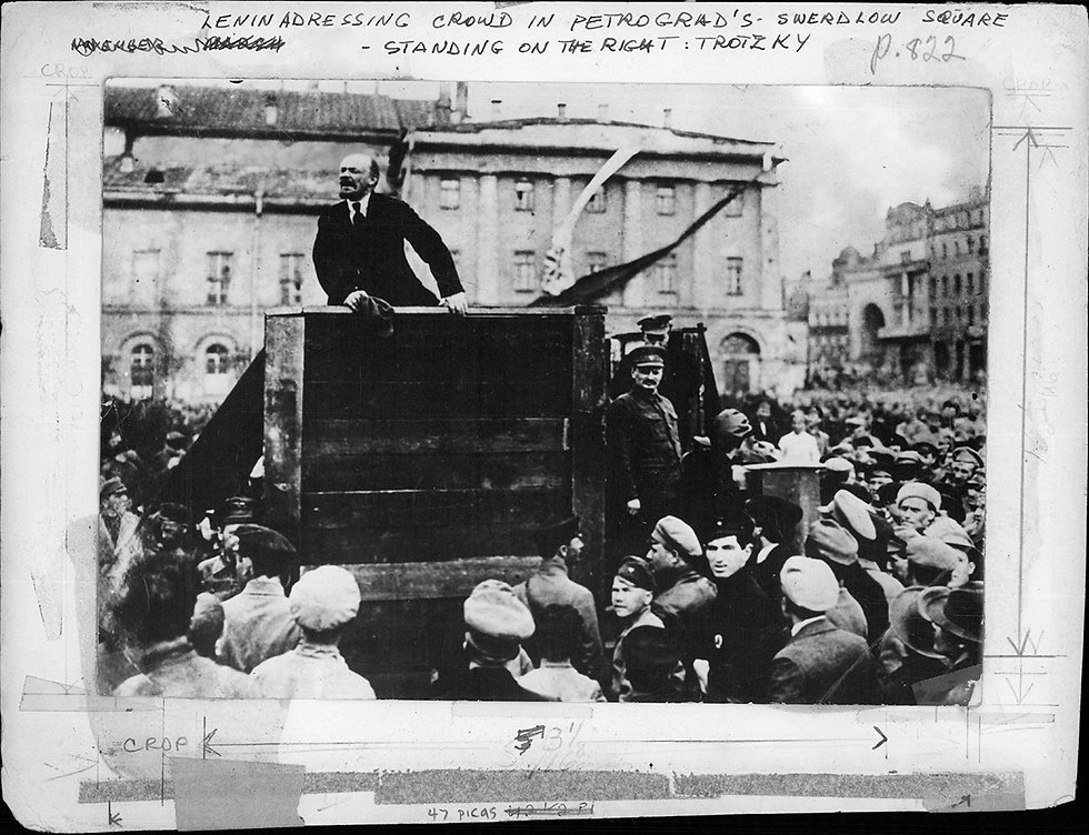 Lenin addressing crowd in Leningrad_