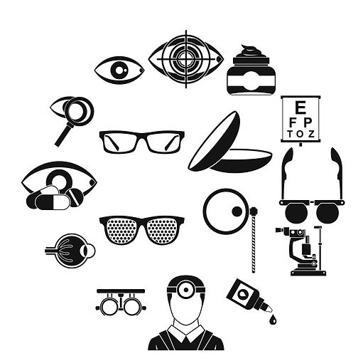 ophthalmologist-tools-icons-set-simple-s