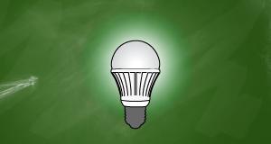 LED light bulb blackboard background