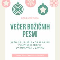VEČER BOŽIČNIH PESMI 2018.