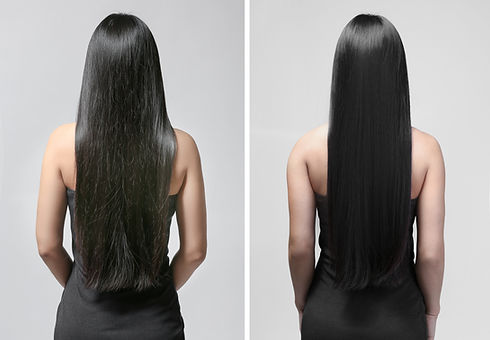 Woman before and after hair treatment on