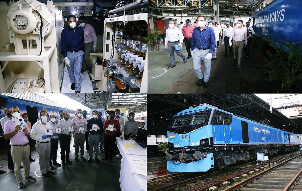GENERAL MANAGER, CENTRAL RAILWAY INSPECTS WAG-12 LOCOMOTIVE AT CSMT