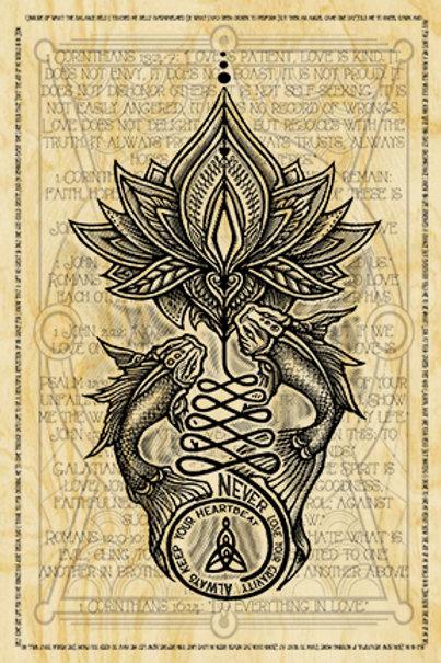 Koi Mother - Original Print On Wood