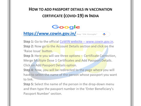 How to add passport details in vaccination certificate (covid-19) in India