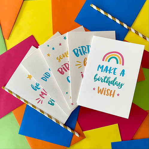 Bundle of 5 Birthday Cards - Brights