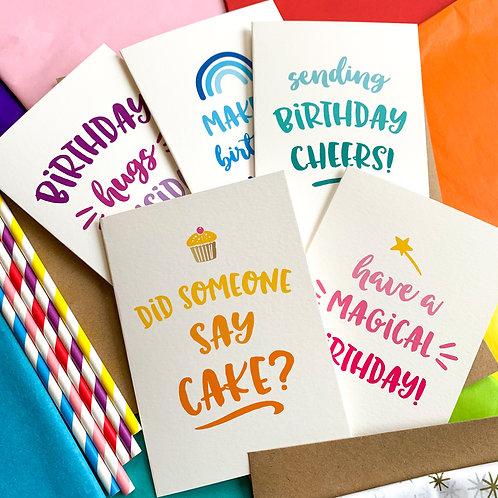 Bundle of 5 Birthday Cards - Ombré