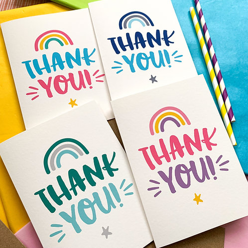 Colourful Thank you Cards - Set of 4