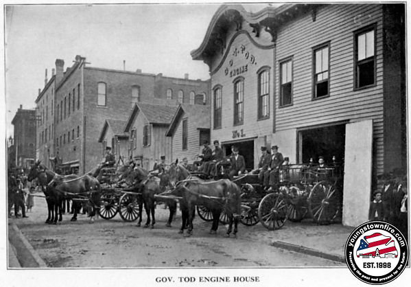 Gov Tod Fire House with second bay for the Hook and Ladder Co. Post 1871.