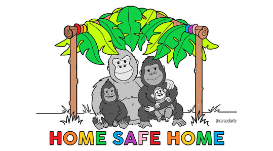 Colour in our gorilla family by @caracolarte