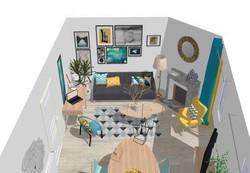 3D salon style Scandinave