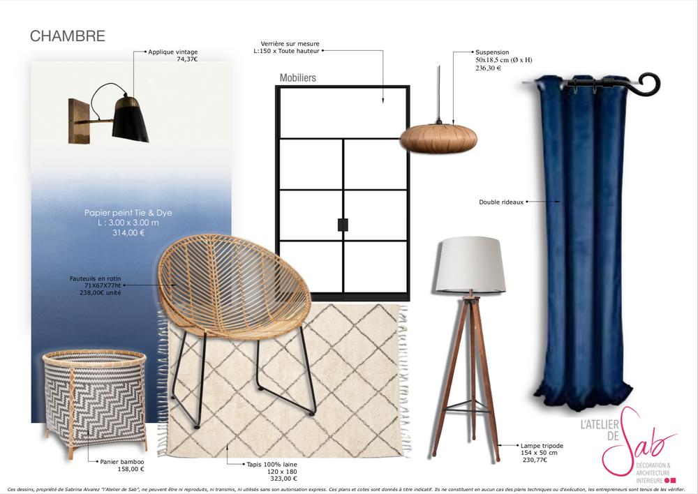 Planche de style chambre par Sabrina Alvarez, Architecte d'intérieur et Décoratrice UFDI dans l'Essonne 91