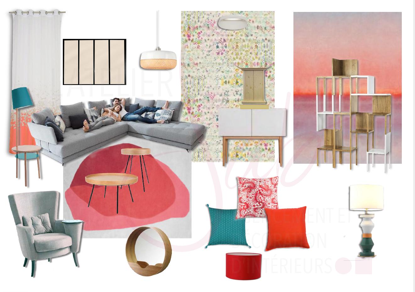 Planche_de_style_salon_canapés_fauteuil_mobilier_Hartô_Coussins_moderne