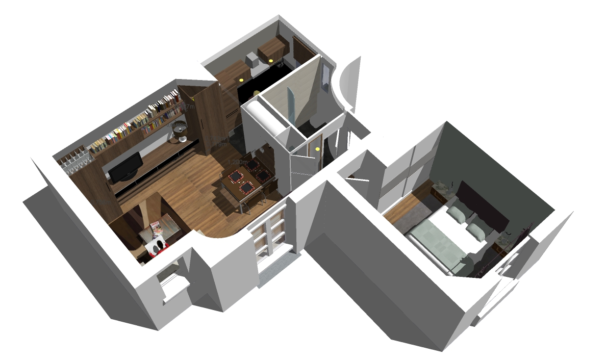 Plan 3D F2 Paris XV