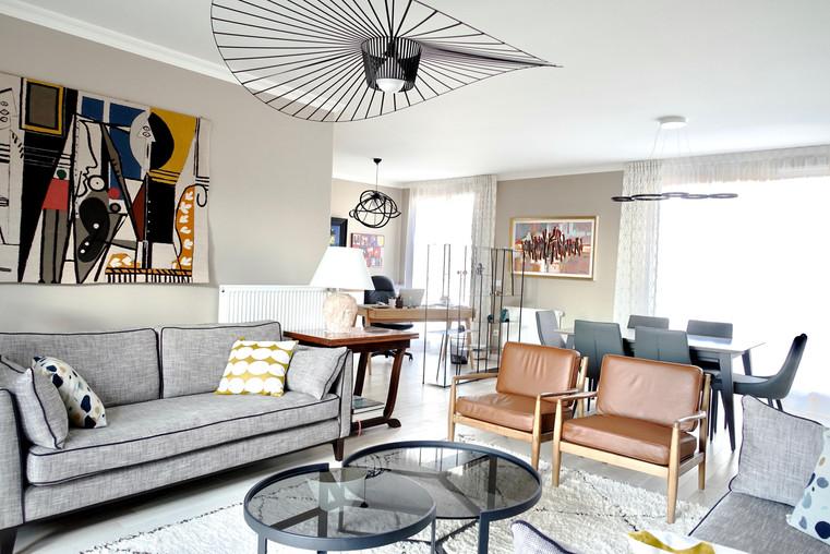 Salon Modern Chic avec cheminée relookée par Sabrina Alvarez, L'Atelier de Sab, Décoratrice et Architecte d'intérieur UFDI en Ile de France 91 92 75