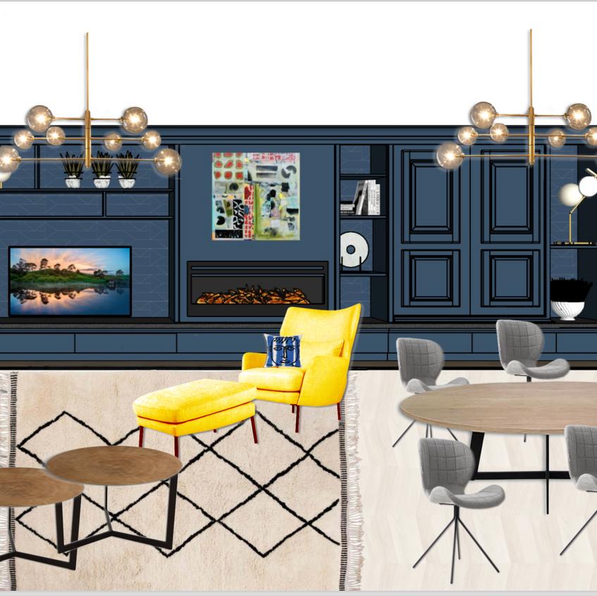 On supperpose les créations avec du mobilier pour donner une idée du style du future salon
