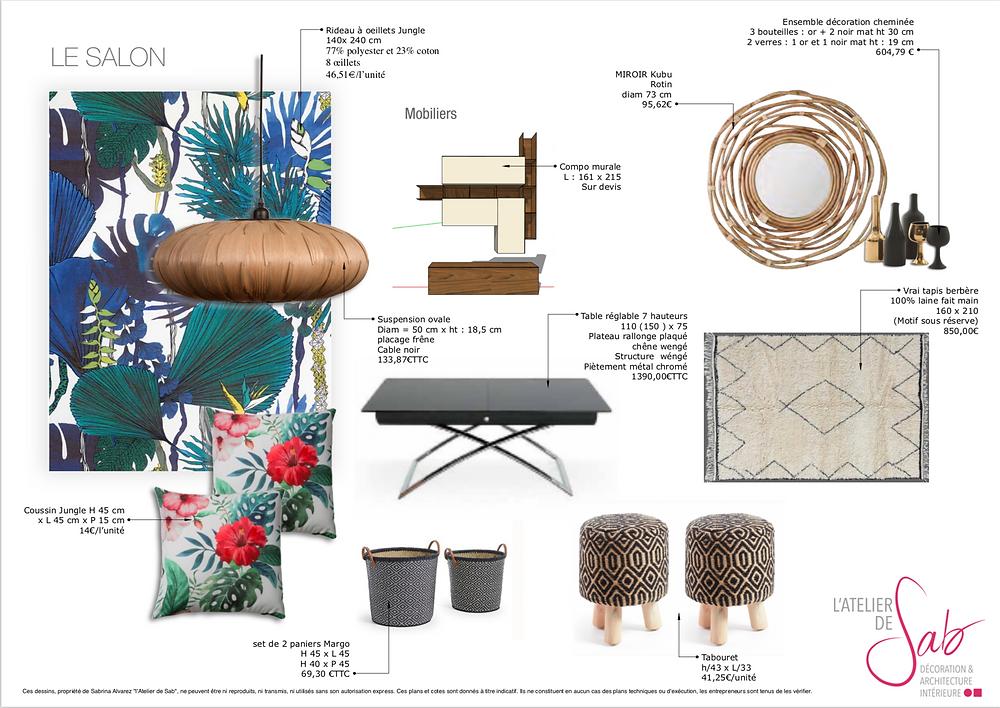 Planche d'ambiance mobilier pour salon par Sabrina Alvarez, Architecte d'intérieur et Décoratrice UFDI dans l'Essonne 91