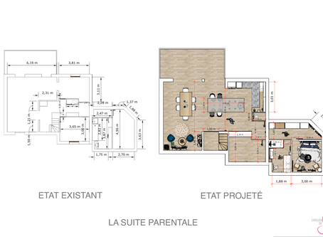 Planches d'ambiance pour la création d'une grande pièce à vivre et une suite parentale