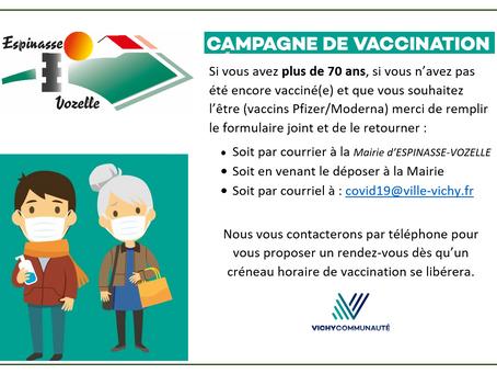 Vaccination pour les + de 70 ans