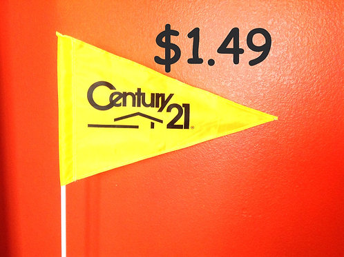 """Century 21 Flag Yellow with Black Letters  19"""" x 31"""""""