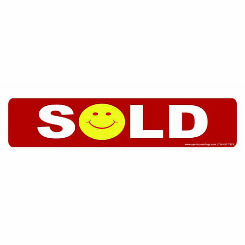 Happy Face Sold Sign Rider (Double Sided) Coroplast 24 x 6