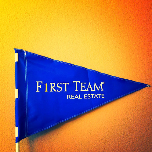 "First Team Flag Blue with White letters 19"" x 31""just 25 left"