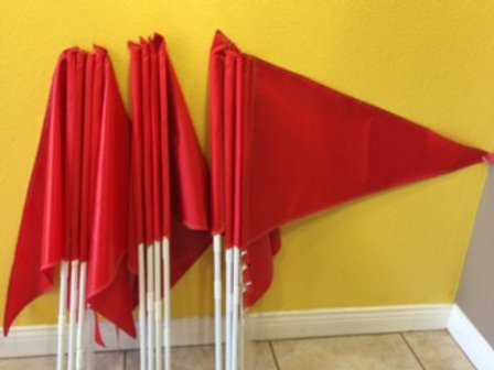 Package of 10 Solid Red Flags (no priniting) and 10 Poles(Ten 3 foot Poles)