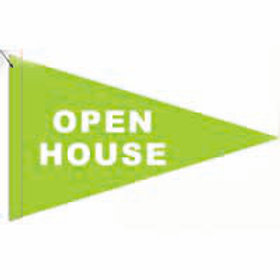 """Open House Flag Green with White Letters 19"""" x 31"""""""
