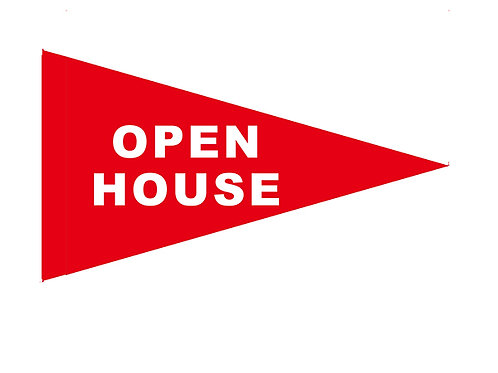 "Open House Flag Red with White Letters 19"" x 31"""