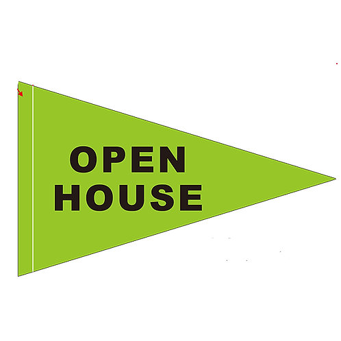 "Open House Flag Green with Black Letters 19"" x 31"""