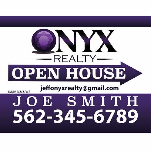 Onyx Custom Open House Sign (Order minimum 10) 2 free pennant flags
