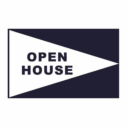 Open House Flag White with Black Letters