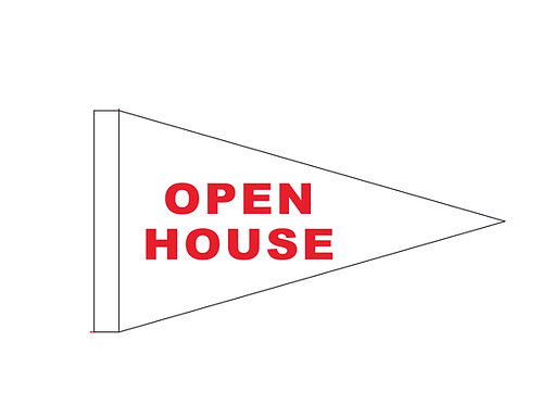 """Open House Flag White with Red Letters 19"""" x 31"""""""