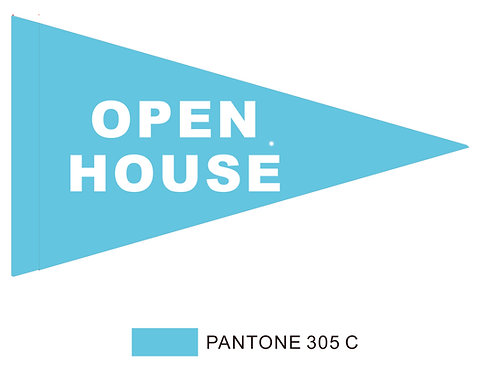 "Open House Flag Light Blue with White Letters 19"" x 31"""
