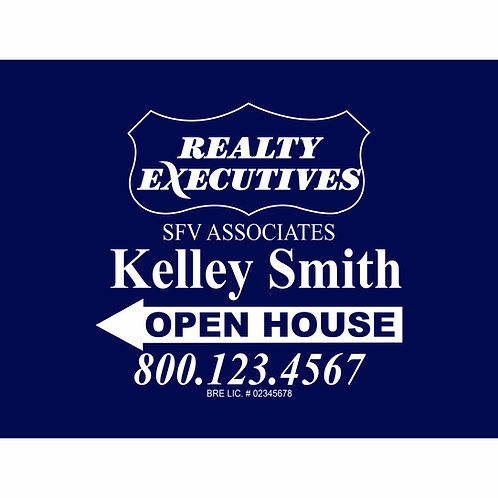 Realty Executive Custom Open House Sign (Order minimum 10) 2 free pennant flags