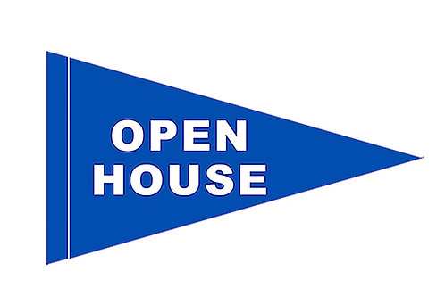 """Open House Flag Royal Blue with White Letters 19"""" x 31"""""""