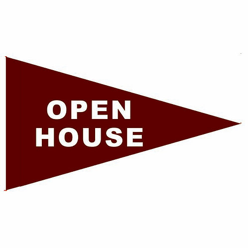 "Open House Flag Burgundy with White Letters 19"" x 31"""