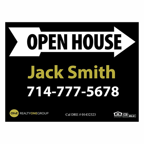 Realty One Custom Group Open House Sign (Order minimum 10) 2 free pennant flags
