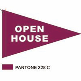 "Open House Flag Dark Pink with White Letters 19"" x 31"""