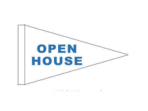 "Open House Flag White with Blue Letters 19"" x 31"""