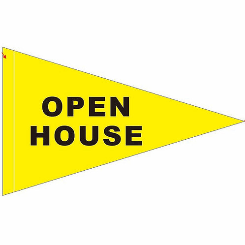 "Open House Flag Yellow with Black Letters 19"" x 31"""