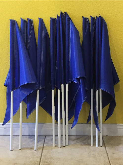 Package of 10 Solid Blue Flags (no printing) 10 Poles(Ten 3 foot poles)