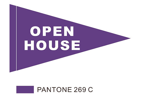 "Open House Flag Purple with White Letters 19"" x 31"""