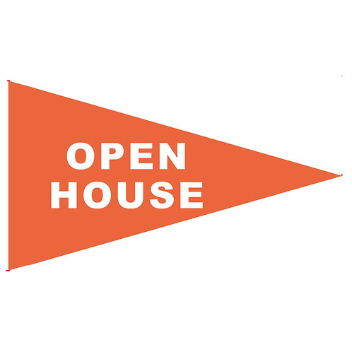 """Open House Flag Orange with White Letters 19"""" x 31"""" JUST 30 LEFT"""