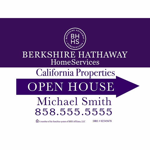 Berkshire Custom Open House Sign (Order minimum 10) 2 free pennant flags