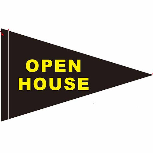 "Open House Flag Black  with Yellow Letters 19"" x 31"""