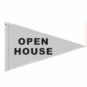 "Open House Flag Silver with Black Letters 19"" x 31"""