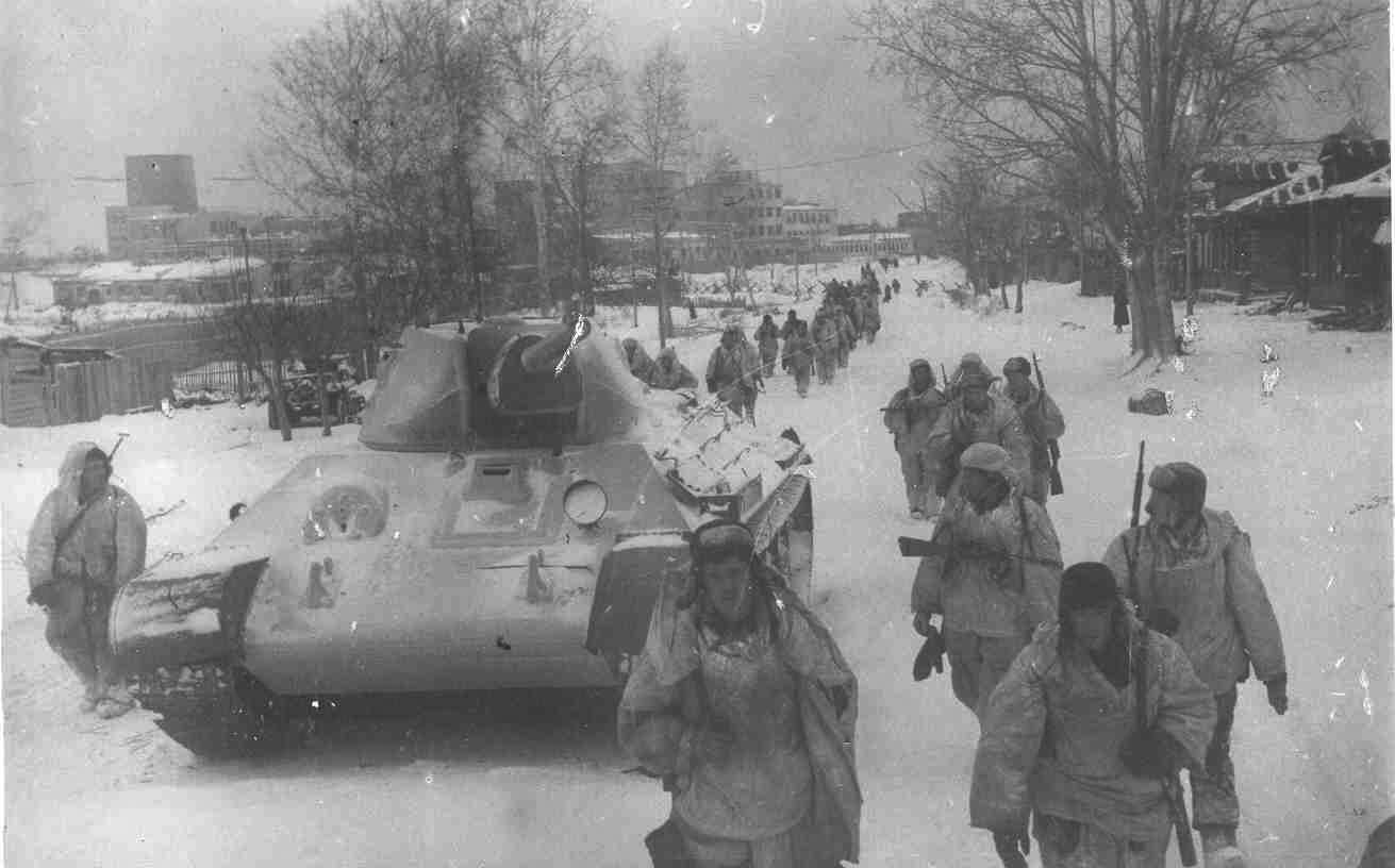 Битва за Москву. Советские войска на марше