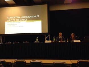 Me St-Jacques et Me Payeur en conférence sur la corruption / Me St-Jacques and Me Payeur give a conf